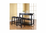 "Stainless Steel Top Black Kitchen Cart / Island with 24"" Saddle Stools - CROSLEY-KF300524BK"