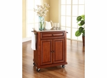 Stainless Steel Top Portable Kitchen Cart/Island in Classic Cherry - CROSLEY-KF30022ECH