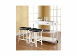 "Stainless Steel Top White Kitchen Cart / Island with 24"" Saddle Stools - CROSLEY-KF300524WH"