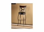 Stockport Swivel Stool - Pewter with Distressed Cherry Wood Panel - Hillsdale