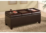 Storage Ottoman in Brown Leather-like Vinyl - Coaster