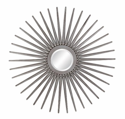 Sun Shaped Wall Mirror in Antique Silver - 901731