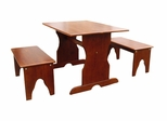 Table with Two Benches in Cottage Oak - JT48-3027
