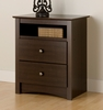 Tall Night Stand with Open Shelf and 2 Drawers in Espresso - Fremont - Prepac Furniture - EDC-2428