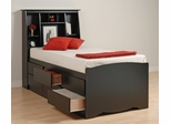 Tall Twin Size Platform Bed with Headboard in Black - Sonoma Collection - Prepac Furniture - BBT-4106-SET