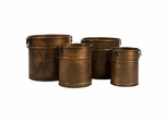 Tauba Round Copper Planter with Iron Handles (Set of 4) - IMAX - 44135-4