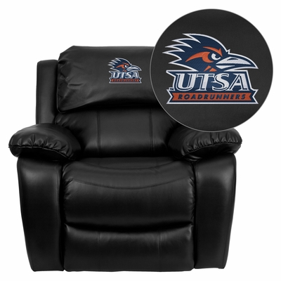 Texas at San Antonio Roadrunners Embroidered Black Leather Rocker Recliner  - MEN-DA3439-91-BK-41102-EMB-GG