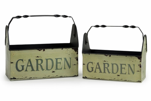 Tin Garden Baskets (Set of 2) - IMAX - 4089-2