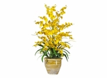 Triple Dancing Lady Silk Flower Arrangement in White - Nearly Natural - 1070-YL