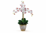 Triple Phalaenopsis Silk Orchid Flower Arrangement in White - Nearly Natural - 1017-WH