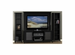 "Tuxedo 58"" TV Stand with 2 Slim Bookcases & Wall Panel - Nexera Furniture"