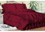Twin Bed Sheet Set - Charmeuse II Satin 230TC Woven Polyester in Red - 100TCB2RED