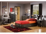Twin Size Bedroom Furniture Set 71 in Black/Onyx and Charcoal - Cosmos - South Shore Furniture - 3127-BSET-71