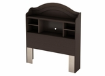 Twin Size Bookcase Headboard in Chocolate - Summer Breeze - South Shore Furniture - 3219098