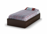 Twin Size Mates Bed in Chocolate - Logik - South Shore Furniture - 3359213