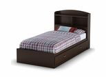 Twin Size Mates Bed with Headboard in Chocolate - Logik - South Shore Furniture - 3359213-098