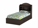 Twin Size Mates Bed with Headboard in Chocolate - Summer Breeze - South Shore Furniture - 3219080-098