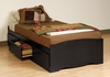 Twin Size Platform Storage Bed in Black - Sonoma Collection - Prepac Furniture - BBT-4100