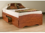 Twin Size Platform Storage Bed in Cherry - Monterey Collection - Prepac Furniture - CBT-4100
