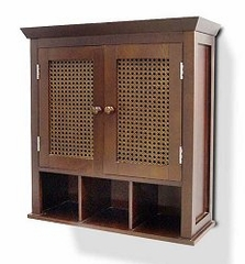 Two Doors Wall Cabinet with Cubbies - Cane - 6018