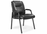 Ultimo Leather Guest Chair in Black - Mayline Office Furniture - ULGSTBLK