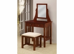 Vanity Table with Stool in Walnut - Coaster - 300064