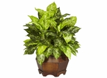 Variegated Dieffenbachia with Large Hexagon Silk Plant - Nearly Natural - 6709