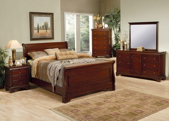 Versailles California King Size Bedroom Furniture Set in Deep Mahogany - Coaster - 201481KW-BSET