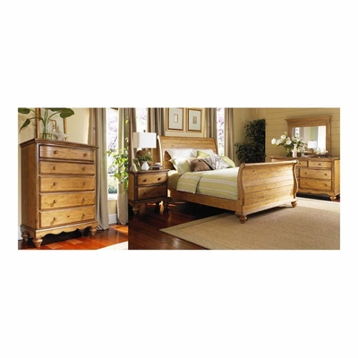 Weathered Pine Hamptons Bed, Nightstand, Dresser, Mirror & Chest - Hillsdale
