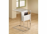 White & Chrome Snack Table with Magazine Rack - 901013