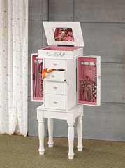 White Jewelry Armoire with Felt Lining - 900146