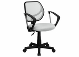 White Mesh Computer Chair with Arms - WA-3074-WHT-A-GG