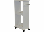 White Rolling Side Cabinet with Shelves
