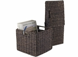 Winsome Granville Small Chocolate Foldable Corn Husk Baskets (Set of 2)