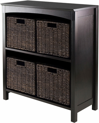 Winsome Trading 5pc Storage 3-Tier Shelf with 4 Small Baskets