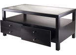 Winsome Wood Copenhagen Coffee Table with Glass Top and Drawers