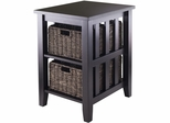 Winsome Wood Morris Side Table with Two Foldable Baskets