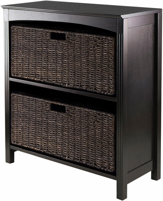 Winsome Wood Terrace Storage Three-Tier Shelf with Two Large Baskets, 3 Piece