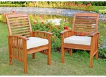 Wood Chair (Set of 2) with Cushions in Natural Brown - OWC2BR