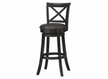 "X Back Wood Swivel Bar Stool 30"" - Linon Furniture - 01937BLK-01-KD-U"