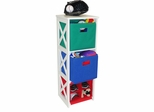 X-Frame Kids Storage with 2 Primary Colored Bins and 4-Slot Cubby - RiverRidge - 02-036