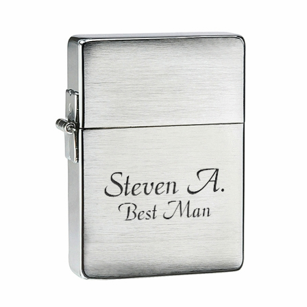 1935 Replica Brushed Chrome Zippo Lighter - Free Engraving - ID# 1935-25