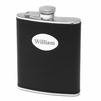 6 ounce Black Leather Monogrammed Liquor Flask - Discontinued