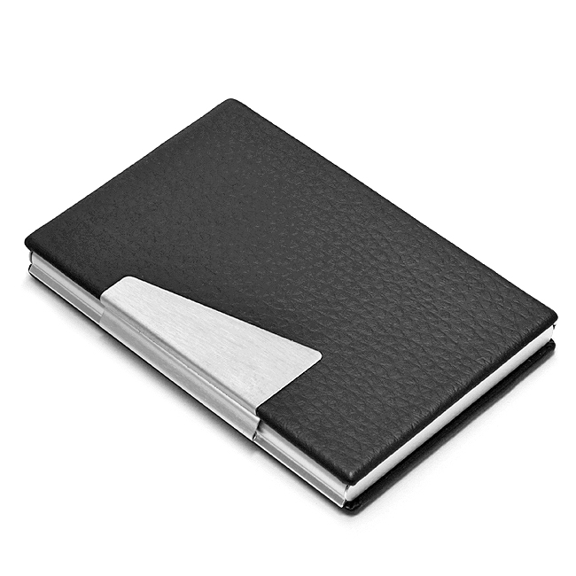 Black faux leather business card holder free engraving for Black business card holder