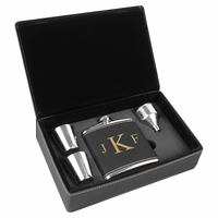 Black & Gold Roman Monogram Flask Set