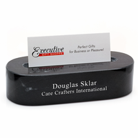 Black Marble Oval Personalized Desktop Business Card Holder