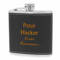 Black & Orange Personalized Drinking Flask