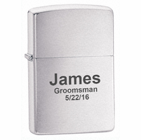 Brushed Chrome Engraved Zippo Lighter - Free Engraving - ID# 200