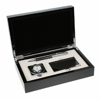 Personalized Carbon Fiber Pen, Card Case and Clock Gift Set