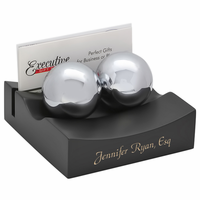 Chinese Therapy Ball & Business Card Holder Desk Set